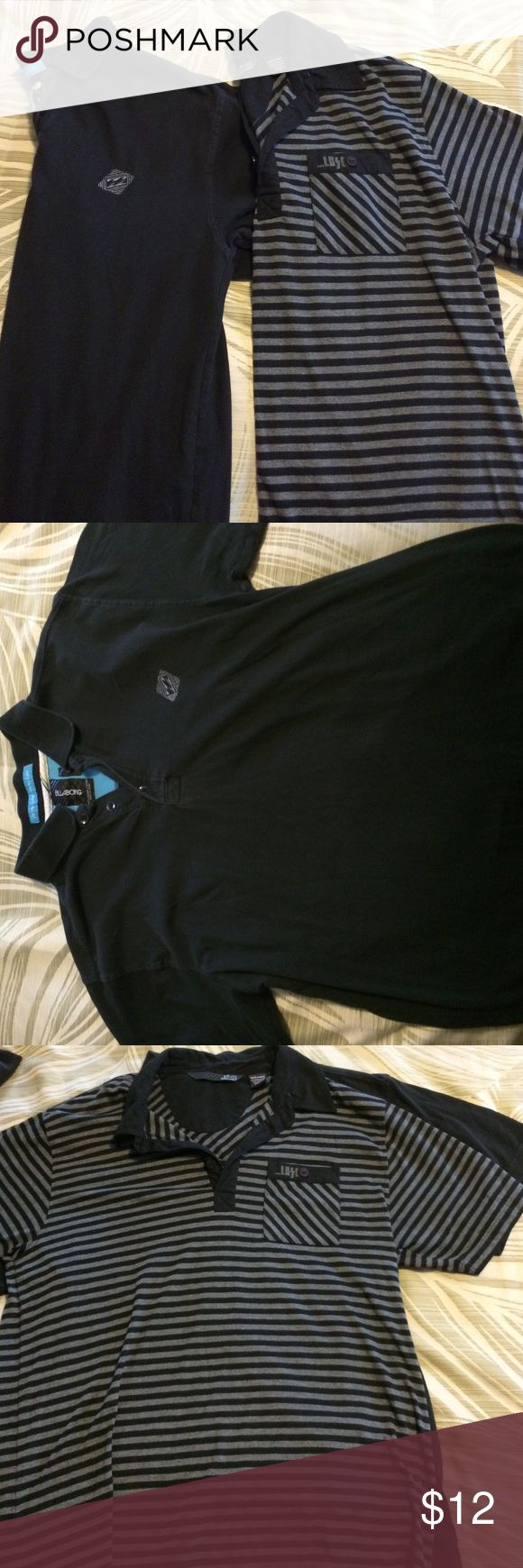 Set of 2 Men's Cotton Polos selling two cotton polo shirts for Men. Size small. The black shirt is Billabong, the striped is ...Lost surfboards. Great condition. Can be sold together or separately... Price posted is for both Billabong Shirts Polos