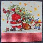 Decoupage Paper Art Napkin - Santa's Little Helper 1