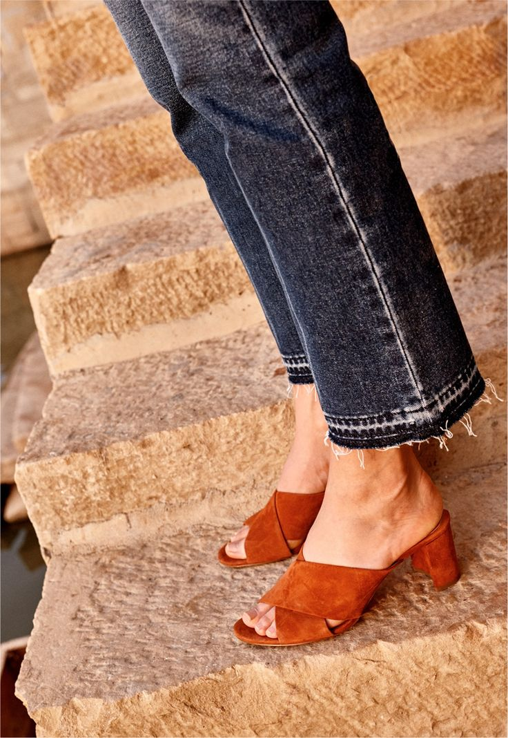 madewell greer mule sandal worn with the retro crop bootcut jeans.