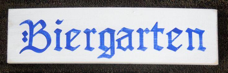 BIERGARTEN Beer Garden Sign German Oktoberfest Party Decor Bavarian Plaque Wood HP Pick Color
