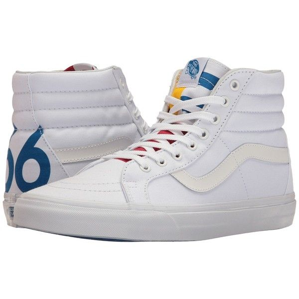 Vans SK8-Hi Reissue ((1966) True White/Blue/Red) Skate Shoes ($65) ❤ liked on Polyvore featuring shoes, sneakers, red trainers, vans shoes, white trainers, leather shoes and leather sneakers