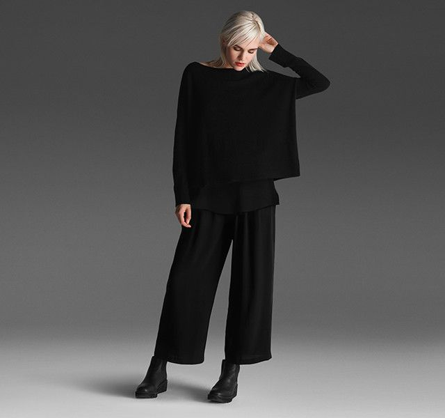 EILEEN FISHER: The System LONG + WIDE our silk shell has a straight fit and side slits that glide over wide-leg pants. Add a box top for balance.
