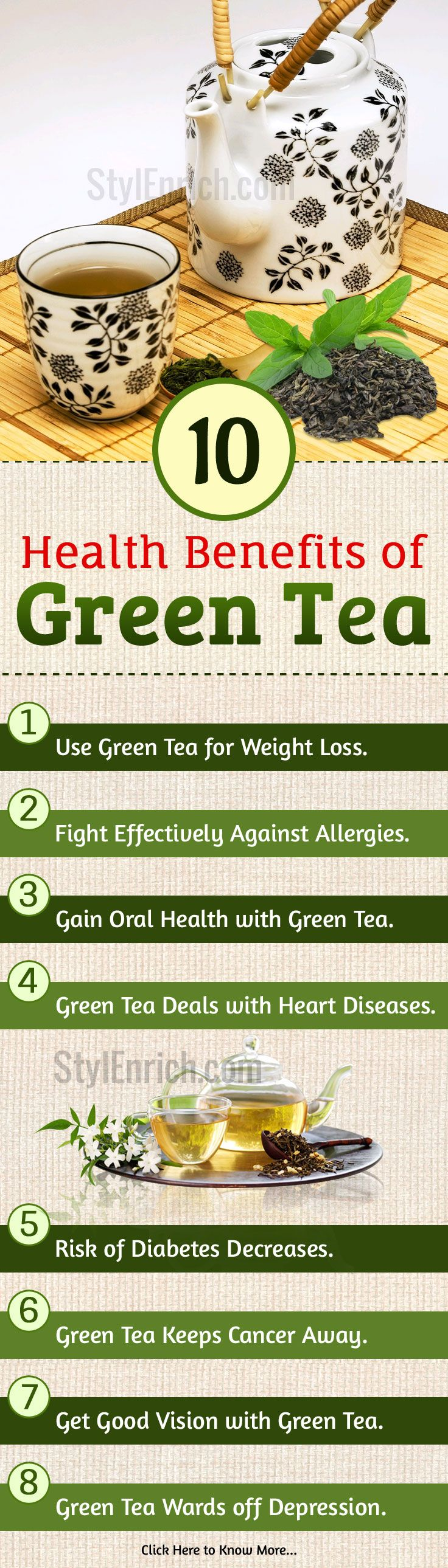There are many #HealthBenefits of drinking #GreenTea that you can avail in your daily routine. For your help, we are providing top 10 green tea health benefits that you must know! Just include this wonderful beverage in your daily diet and watch it working wonders for your overall health.