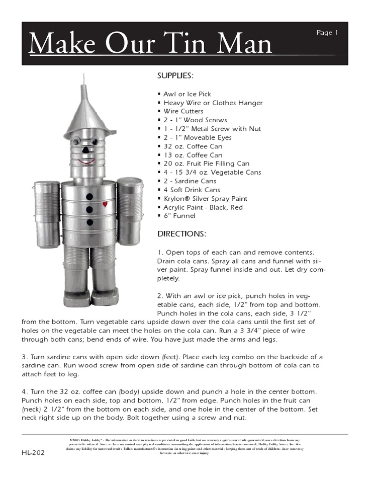 How to make a Wizard of Oz tin can man.