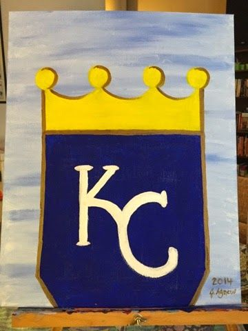 From the heART- KC Royals Pride painting! GO ROYALS! Take the Crown! baseball, blue, brush, canvas, fall, gold, kansas city, Paint, Painting party, Royals, wine, World Series