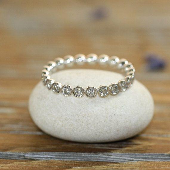 Bezel Set Diamond Eternity Band Ring 14k White by LaMoreDesign, $898.00