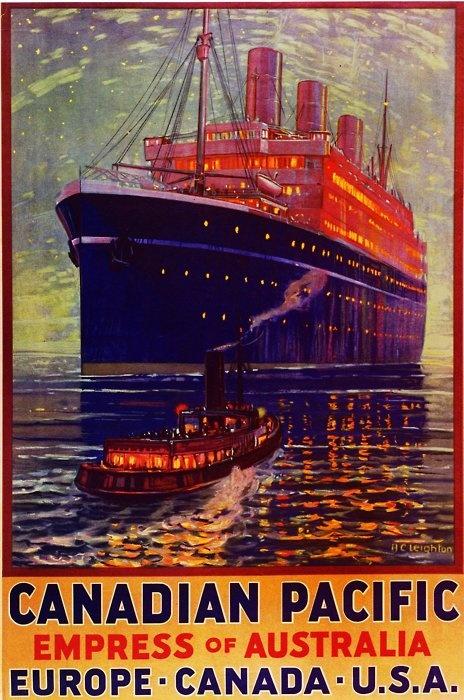 djgagnon:    #ship #history #Australia  Empress of Australia  Travel poster circa 1925.