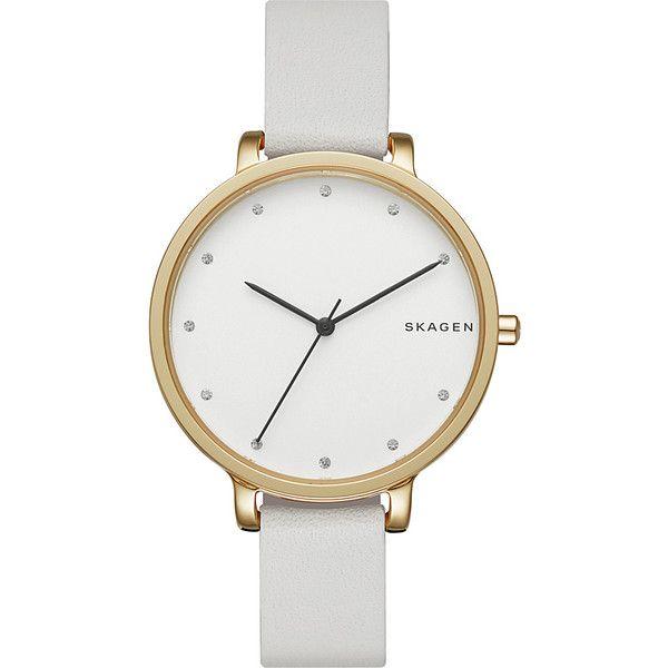 Skagen Hagen Leather Watch found on Polyvore featuring jewelry, watches, white, skagen, white watches, leather jewelry, leather watches and water resistant watches