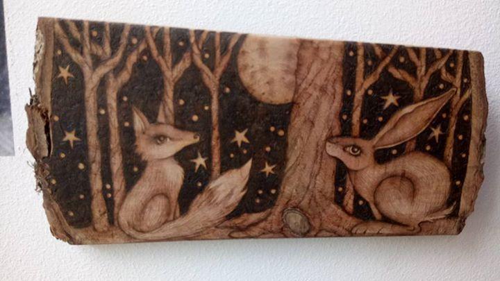 Moon Gazing Fox and Hare Original Wood Burning