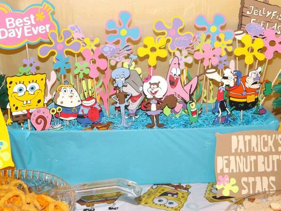 10 piece Spongebob Squarepants centerpiece by InspiredbyLilyMarie, $33.00