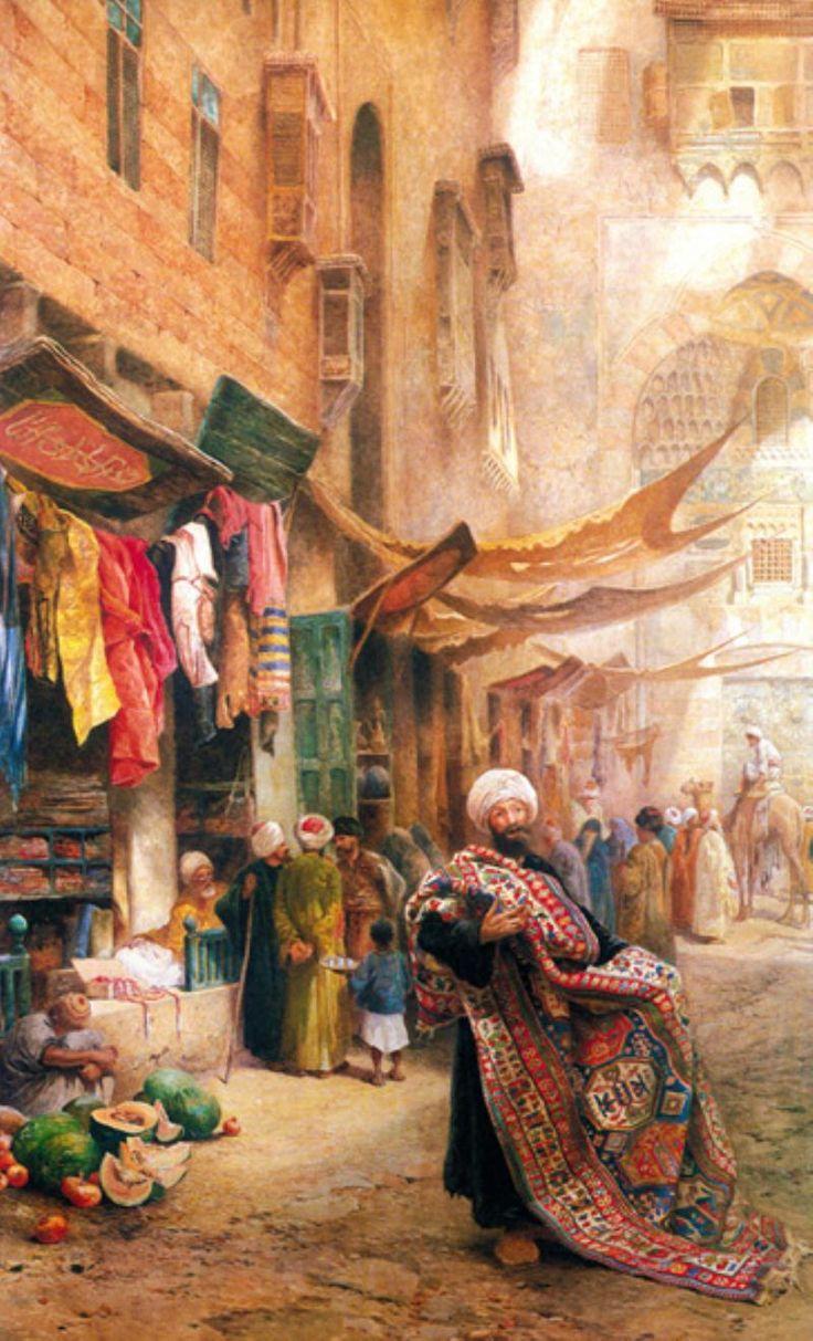 Charles Robertson (Kahan El Khalili Pazarında Halı Satıcısı) Carpet seller at the Bazaar-Khan el Khalili