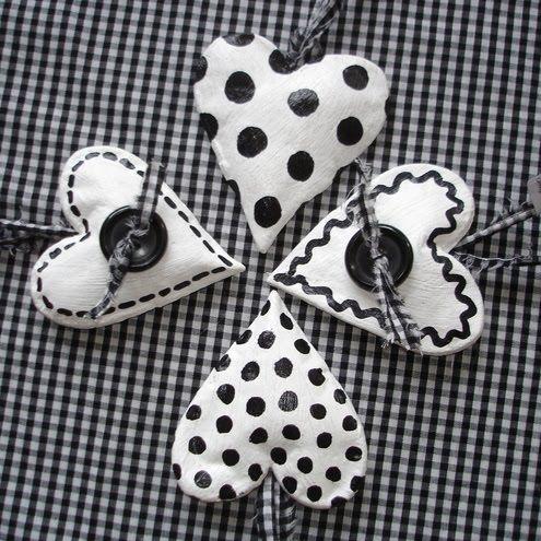 salt dough jewelry | salt dough hearts from Misha Country Workshop