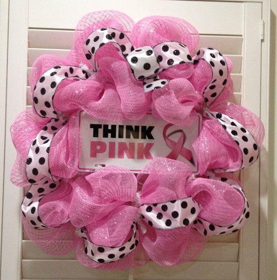 Breast Cancer Awareness Wreath // #PinkOut for October - #BreastCancerAwarenessMonth