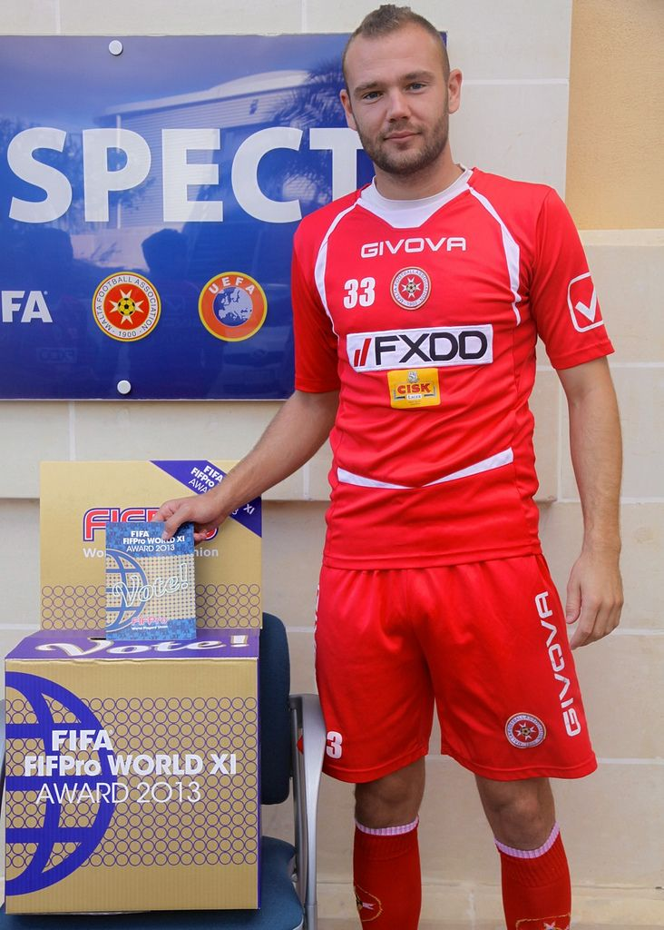 Clifford Gatt Baldacchino, player of Sliema Wanderers and the Maltese national team, votes for the FIFA FIFPro World XI