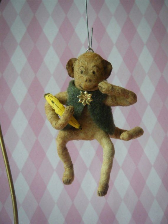 Antique Style Spun Cotton Monkey Ornament by ThePinkTulip on Etsy