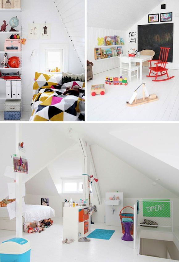 this is apparently an attic bedroom for kids but I would still love it if this room were mine.