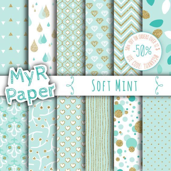 """Gold #glitter green digital paper: """"SOFT MINT"""" light green and gold glitter pack of backgrounds with chevron, polka dots, stripes, hearts  50% OFF ON ORDERS OVER 12 $ (OR NE... #patterns #design #graphic #digitalpaper #scrapbooking #mint #sparkling #golden"""