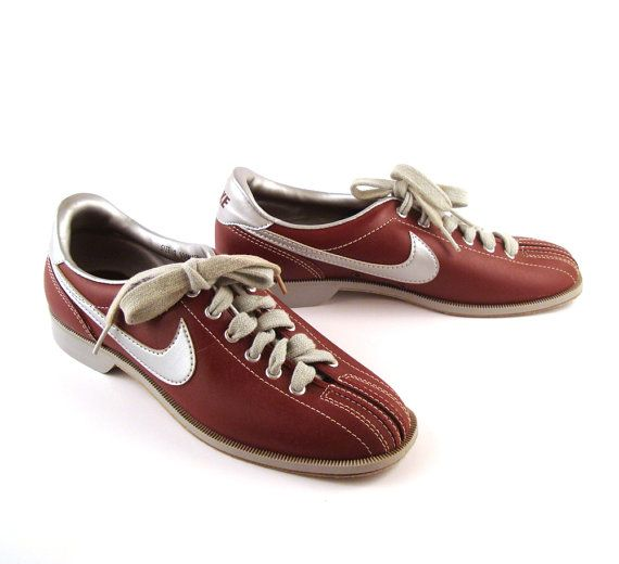 Nike Bowling Shoes Vintage 1980s Nike Maroon and Silver Bowling Shoes Women's 7 $58.90