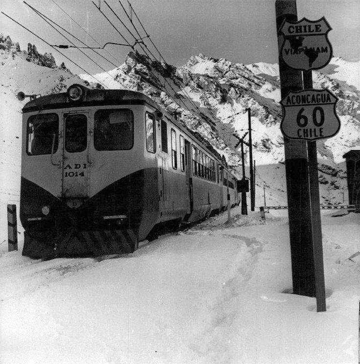 Chile, Los Andes. Tren Trasandino que unía Los Andes con Mendoza, año 1968.