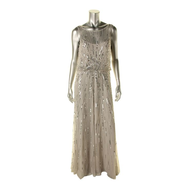 Aidan Mattox Womens Embellished Full-Length Evening Dress