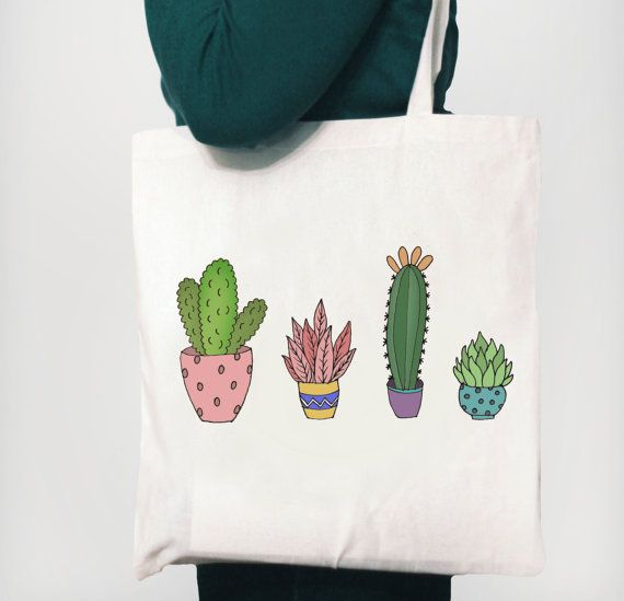 Cactus Tote Bag by GoatsandTotes on Etsy