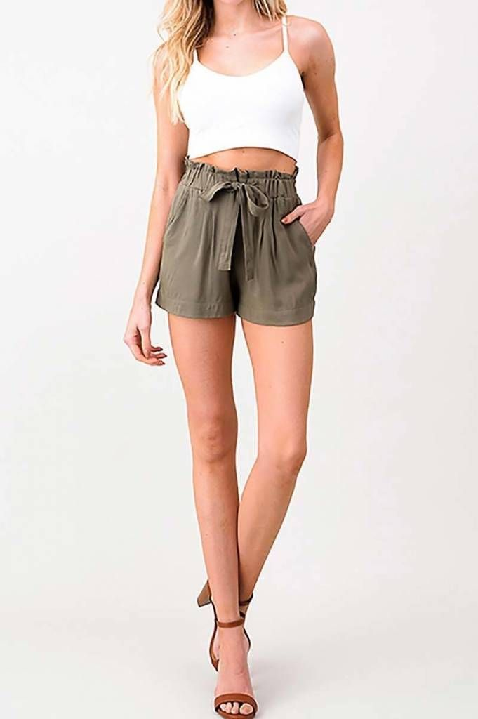 d101dbcd171 Olive Green Tie Shorts in 2019 | Buy Your Coachella Festival Outfit ...