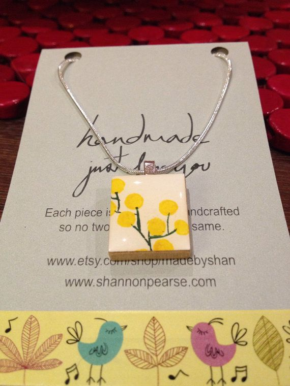Hand Painted Scrabble Tile  Australian Wattle Flower by madebyshan, $35.00