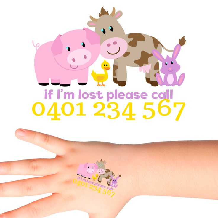Animals Personalised Safety Tattoos #519 (32 pack)
