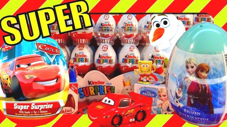 Kinder Surprise Eggs Disney Frozen Surprise Eggs Elsa princess Cars Spon...