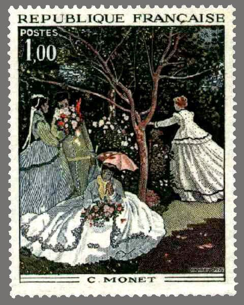 timbres de france/timbre france 1972 - 1703 - Femmes au jardin tableau de Claude Monet - Serie oeuvres d art.jpg
