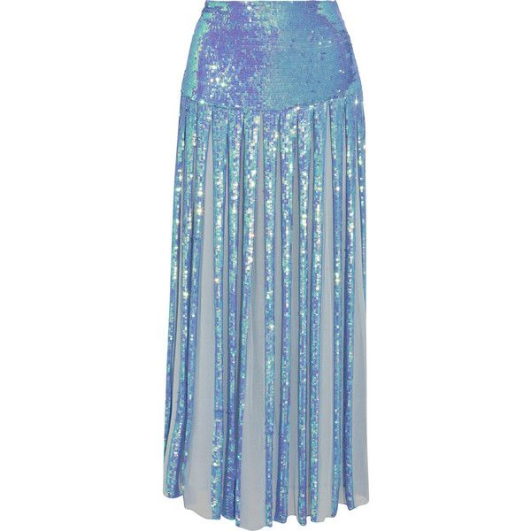Temperley London Filigree pleated sequined chiffon maxi skirt ($1,585) ❤ liked on Polyvore featuring skirts, lilac, maxi skirt, pleated skirt, long blue skirt, pleated chiffon maxi skirts and sequin maxi skirt