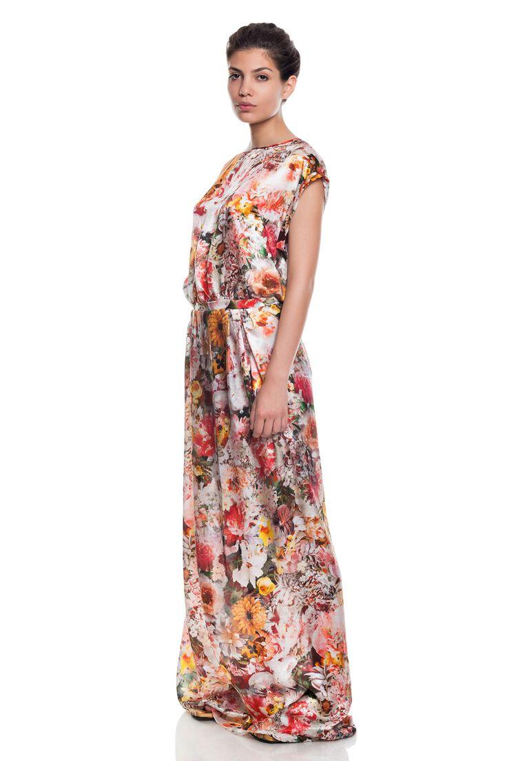 Low waist dress,pure silk,flower print .