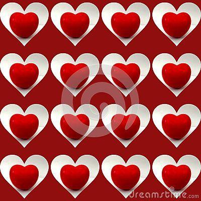 #Shiny #tomato #heart inside white heart shapes, on dark red #background