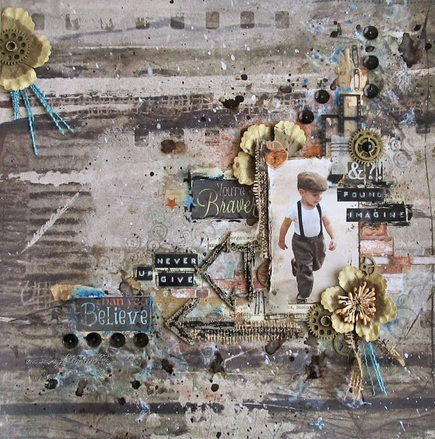 Scraps Of Darkness scrapbook kits: masculine mixed media grunge layout created w/our 'Boys will be Boys' kit, by Kersten F.