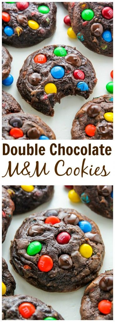 How good do these look?! Thick and chewy soft batch chocolate cookies loaded with rainbow M&Ms and gooey chocolate chips!