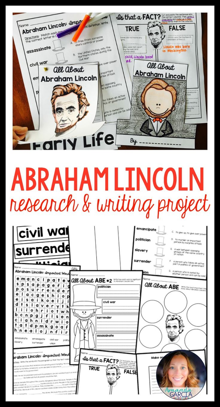 These Abraham Lincoln writing activities for kids will help students research President Abe Lincoln, learn new vocabulary, and create their own All About Abraham Lincoln books! Interactive coloring and cut and paste pages included, as well!