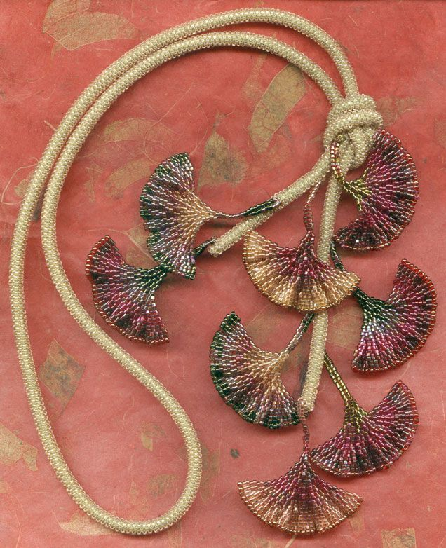 ginkgo necklace. (follow this into a gallery and find free stitching tut's. This beautiful piece acknowledges Diane Fitsgerald's GINKO necklace, which I love.)