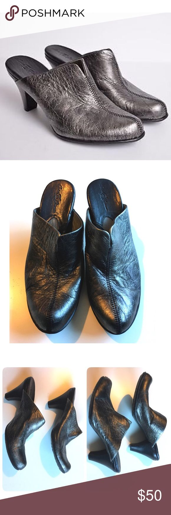 "Born Pewter Leather Mule Clog 9 Black Heel Slide Gorgeous Pewter leather upper, black heel. 3.5"" tall. Born Crown W01232. Excellent condition with minor scuffs on back of heel shown in photo 4. Born Shoes Mules & Clogs"