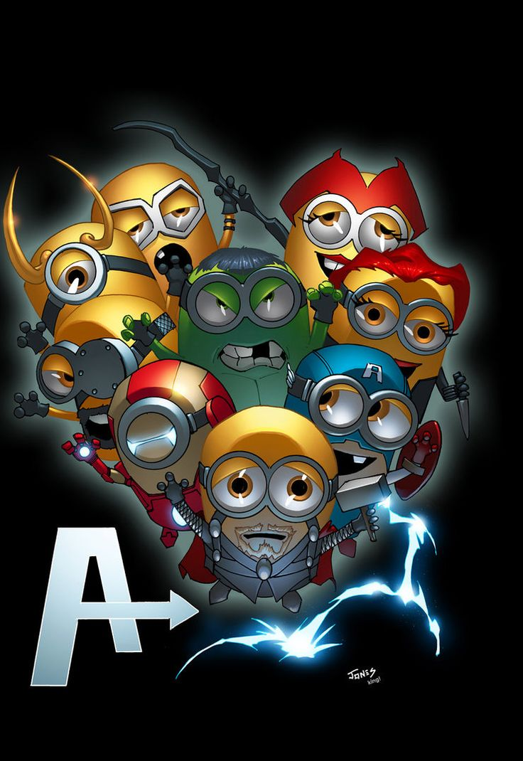 Minion AVengers  Left to right bottom to top thor, iron man, captian america, loki, hulk , black widow, hawkeye, scarlet witch