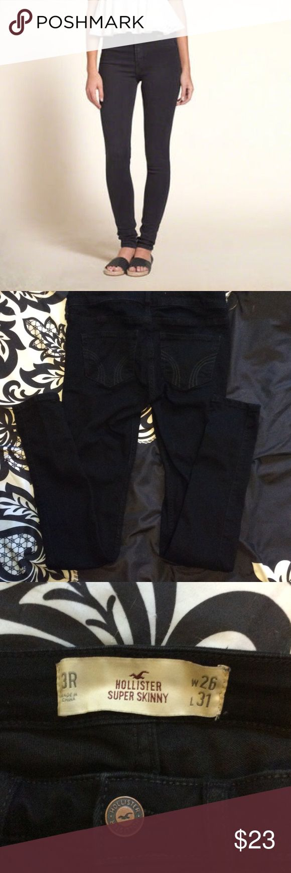 NWOT Black Hollister Super Skinny Jeans Bought them online but they were too small so I didn't bother returning them. Front two pockets are fake but the back two are real. Size 26 so they are about a size 2 or 3. Inseam: 31 inches Tags: Abercrombie and Fitch American Eagle Topshop Burberry Forever 21 Hollister Jeans Skinny