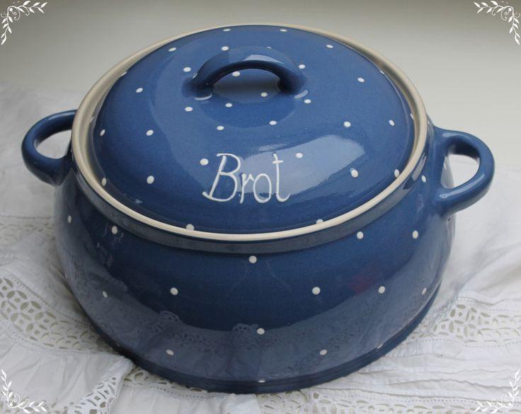 Brotkörbe - BROTTOPF in blauer Keramikausführung mit Deckel  - ein Designerstück von Weichholzwurm bei DaWanda