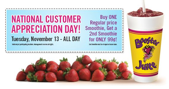 Today Only: Booster Juice Customer Appreciation Day  *Offer Valid on Nov 13 Only*  http://womenfreebies.ca/coupons/booster-juice-customer-apprec/