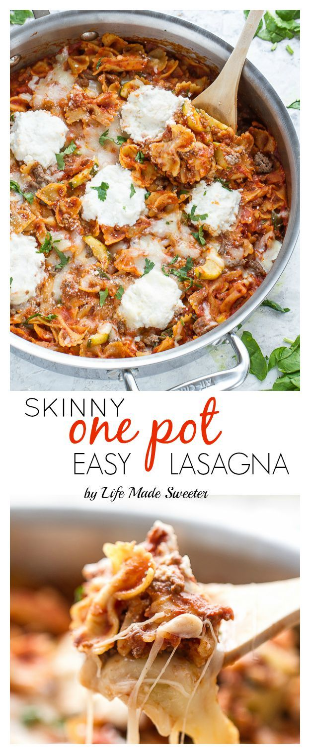 30 Minutes for this Easy Skinny Skillet Lasagna made entirely in one pot makes it perfect for busy weeknights!