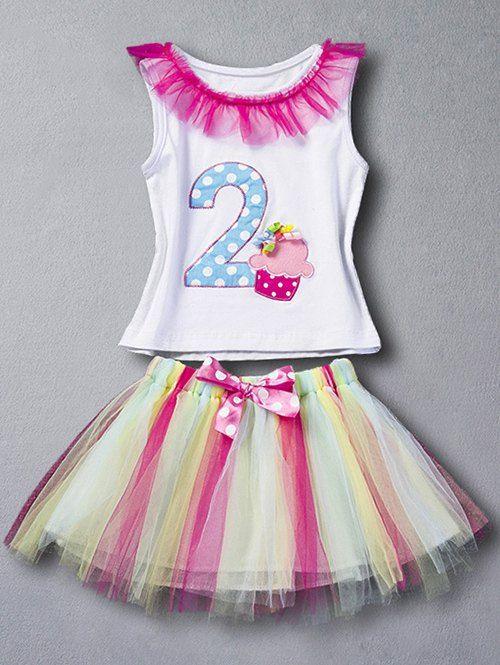 Bowknot Tutu Skirt + Tulle Embellished Letter Print Tank Top - WHITE 90