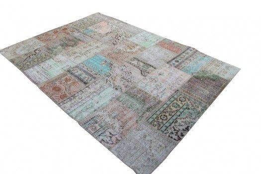 vintage patchwork vloerkleed 602 (352 cm x 248 cm) gemaakt van recoloured vloerkleden