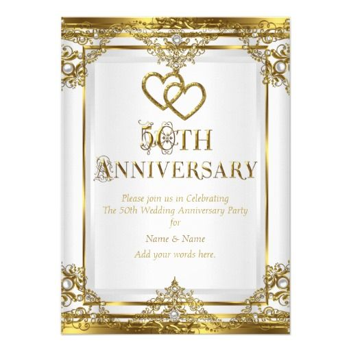 50th Anniversary Elegant Gold White Pearl