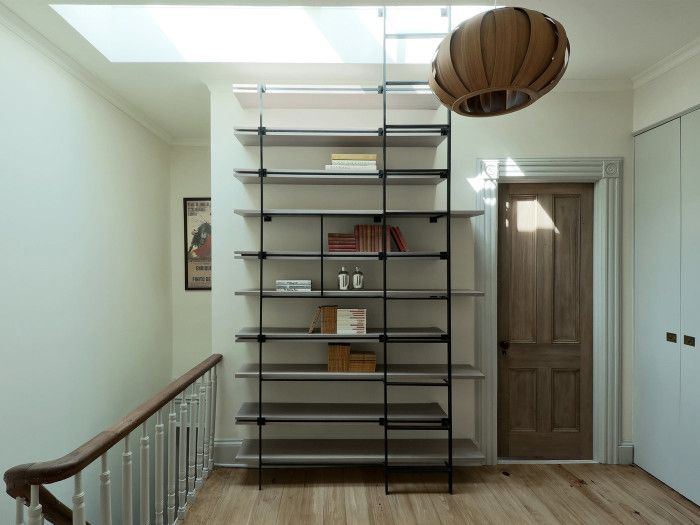 industrial shelves that double up as a ladder