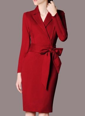 Polyester Solid Long Sleeve Knee-Length Elegant Dresses (1019188) @ floryday.com