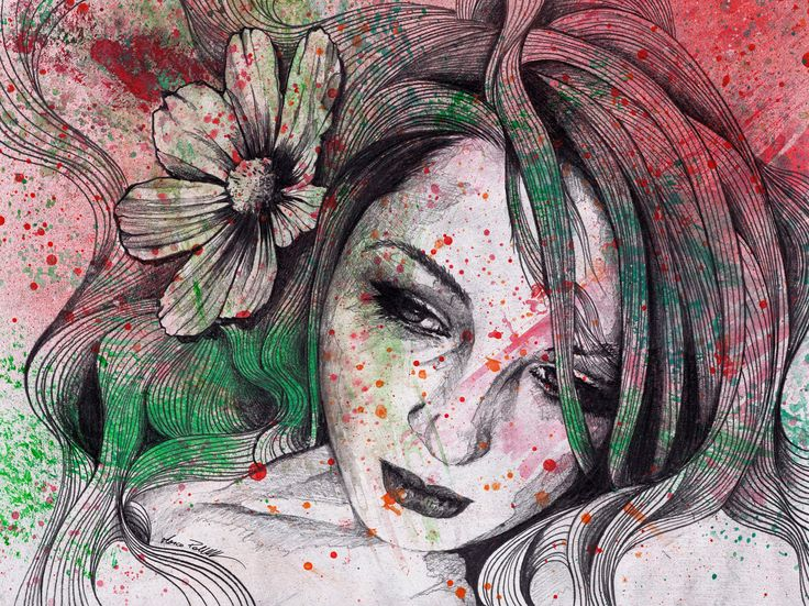 """Cleopatra's Sling"" original artwork. Acrylic, spray paint and pen on paper. • SHOP: https://www.etsy.com/it/listing/399157417/disegno-a-matita-ritratto-matita?ref=shop_home_active_6 • #painting #portrait #etsy #sexygirl #girl #illustration #dipinto #illustrazione #ritratto #flowers #paper #graffiti #graffitiart #spraypaint #acrylic #erotic #beautiful #farfalle #hair #pinup #woman #feminine #drawing #sensual #romantic #delicate #kunst #retrato #portrat #art #originalartwork #arte #model…"