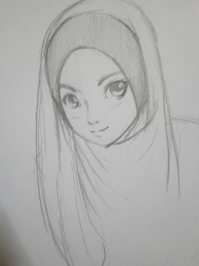 Anime Muslimah Pencil Drawing